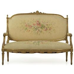 French Louis Xvi Style Carved Giltwood Antique Settee Loveseat Sofa C. 1900