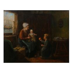 Antique Oil Painting Of Dutch Interior By John H. Henrici American, 1874-1958