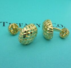 And Co. 18k Yellow Gold Vannerie Cuff Links Cufflinks