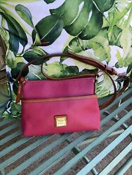 Dooney amp; Bourke Leather Ginger Pouchette Magenta Crossbody $40.00