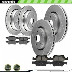 Front And Rear Brake Rotors Ceramic Pads For Jeep Grand Cherokee 3.6l Drill And Slot