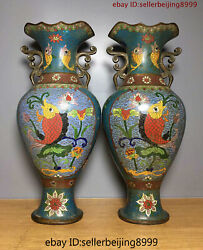 Collect Folk Marked China Chinese Cloisonne Bronze Statue Vase Pair 0507