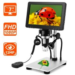 7 Inch Lcd 1080p Digital Microscope 1-1200x Zoom Amplification Magnifier+remote