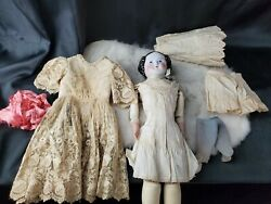 Antique Porcelain 11 Head Hands And Leather Body Doll 18tall Linen And Lace Dress