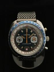 Herma Le Bourget Valjoux 7734 Vintage Chronograph Antique Ss 1970and039s 42mm