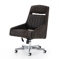 39 H Sigfrido Modern Office Executive Desk Chair Black Leather Pleated Vertical