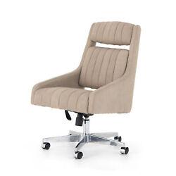39 H Sigfrido Modern Office Executive Desk Chair Tan Leather Pleated Vertical