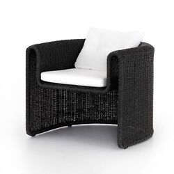 32 H Maria Black Woven Wicker Outdoor Chair One Piece Curved Fluid Open Rustic