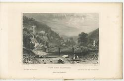 Antique Cow River Waterfall Brige House Chimney Smoke Farm Belgium 1840s Print