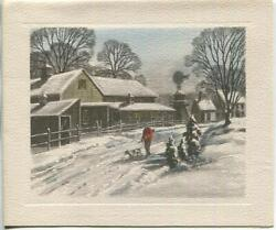 Vintage Christmas Farm House Wind Mill Hunter Rifle English Setter Greeting Card