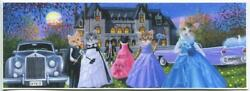 Aceo Cats Masks Masquerade Ball Party Victorian House Full Moon Old Cars Print