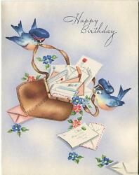 Vintage 1940and039s Blue Birds Mailman Hat Cap Mail Bag Flowers Greeting Card Print