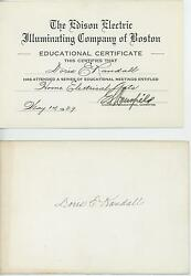 Vintage Edison Illuminating Co Boston Home Electrical Arts Certificate Ywca