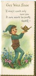 Vintage Fairy Pixie Elf Garden Flowers Genie Lamp Embossed Lithograph Card Print