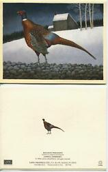 Vintage Antique School 1 Pheasant Game Bird Folk Art House Snow Christmas Card