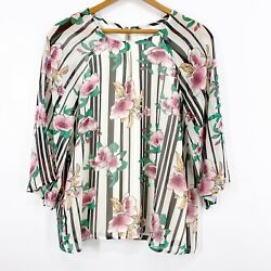 Charming Charlie Womenand039s 3/4 Sleeve Lined Floral Blouse Shirt Keyhole Back Small