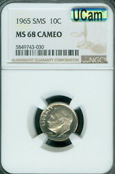 1965 Roosevelt Dimes Ngc Ms68 Sms Cameo Mac Ucam Finest Mac Spotless .