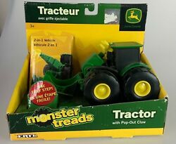 John Deere Monster Treads 4wd Tractor With Pop-out Claw New Nib