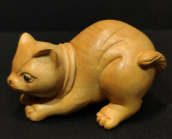 Hand Carved Yellow Boxwood Netsuke Hunting Cat Can Diy Necklace