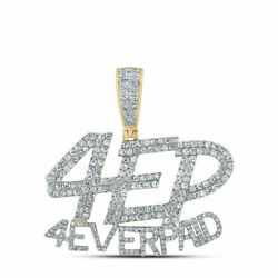 Solid 10k Yellow Gold Round Diamond 4 Ever Paid Mens Charm Pendant 1-3/4 Cttw