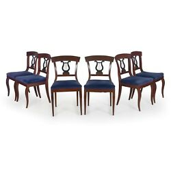 Biedermeier Style Set Of Six Antique Dining Chairs, 19th Century