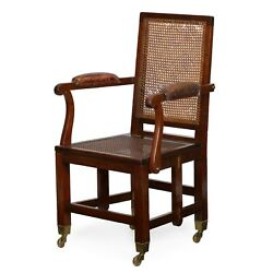 English Metamorphic Armchair   Mahogany And Leather Chair By Johnstone And Jeanes