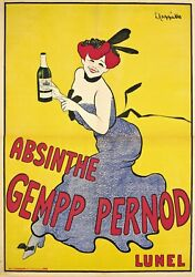 New Absinthe Gempp Pernod Advertising Alcohol Print Poster Canvas Free Shipping
