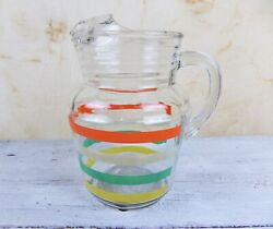 Vintage Fiesta Striped Glass Pitcher Anchor Hocking Clear Red Green Yellow Tan