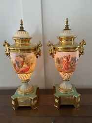2 Porcelain Victoria Ceramic Lamps From Czecnoslovakia, 24k Gold. 80 Yrs Old