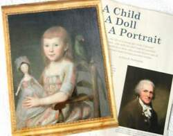 9p History Article - Antique Charles Peale Child And Queen Anne Wood Doll Portrait