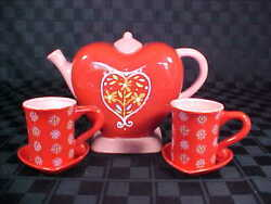 Dept. 56 Teapot Cups And Saucers Set - Red Heart Valentine