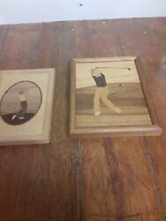 Hudson River Inlay By Nelson Golfer Lot Marquetry Artwork Driver Wood Pair Lot