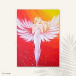 Guardian Angel Print On Canvas Connected Through The Heartspiritual Wall Decor