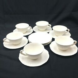 Steubenville Pope Gosser China Rose Point Cups And Saucers Scalloped Edge 16 Piece