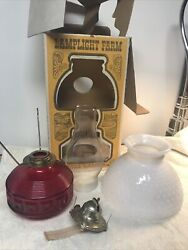 Vintage Lamplight Farms Oil Lamp Red Body With White Hobnail Milk Glass Shade