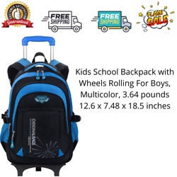 Kids School Backpack with Wheels Rolling For Boys Multicolor 3.64 pounds $59.99