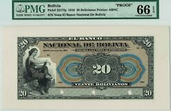 Bolivia S217 Face Proof. Pmg 66 Epq Gem Uncirculated. 1910. Bold And Colorful.
