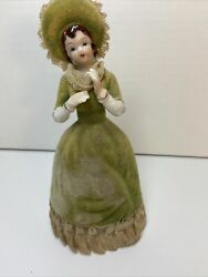 Girl Figurine With Green Velvet Dress And Hat Vintage Rare Patient Number