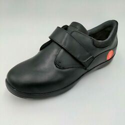 Anodyne Womens Diabetic Casual Comfort Stretch Shoes Black Leather Size 12w