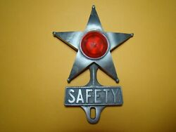 Vintage Style Safety Star License Plate Topper Patina Safety Star Antique Car