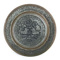 Vintage Antique Silver Tone And Copper Middle East Persian Qajar Tray Engraved 12