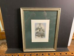 Framed Kathleen Cantin Etching, Pine Boughs, Signed And Numbered 125/250, Oil Lamp