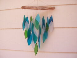 Blue Green White Ocean 9 Strands Waterfall 17 Inch Glass Wind Chimes Free Ship