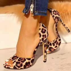 Womenand039s Leopard Print High Heels Peep Toe Slip On Sexy Party Shoes Pumps Sandals