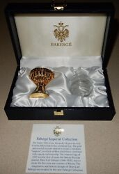 Faberge Swan Crystal Egg With Blue Palace Holder And Box Signed
