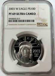 2003 W Platinum 100 American Eagle 8106 Minted 1 Oz Proof Coin Ngc Pf 69 Uc