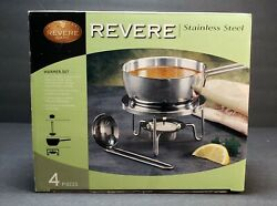 New Vintage Revere Ware Stainless Steel Warmer Set 4pc Ladle Stand Candle Warmer