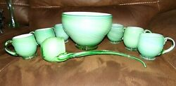 Murano Carlo Moretti 8 Pc Gorgeous Green And White Cased Glass Punch Bowl Set Ooak