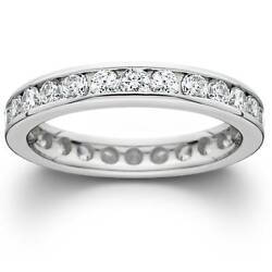 1 1/2ct Channel Set Diamond Eternity Ring Solid 14k White Gold