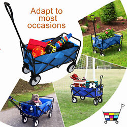 Blue Multifunction Folding Wagon Cart Outdoor Portable Wheels Utility Grocery